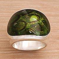 Sterling silver dome ring, 'Green Cyclops' - Unique Sterling Silver and Resin Unisex Ring