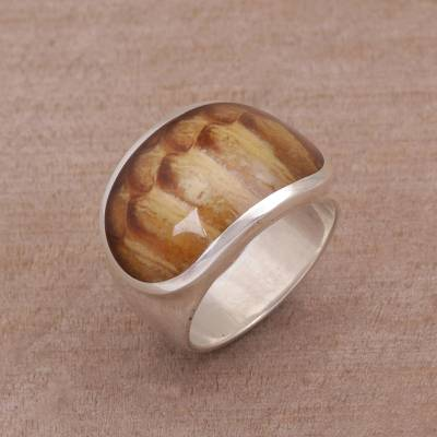 Artisan Crafted Ring with Sterling Silver and Resin