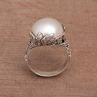 Cultured pearl cocktail ring, 'Moonlight Bloom in White' - White Cultured Pearl Cocktail Ring from Bali