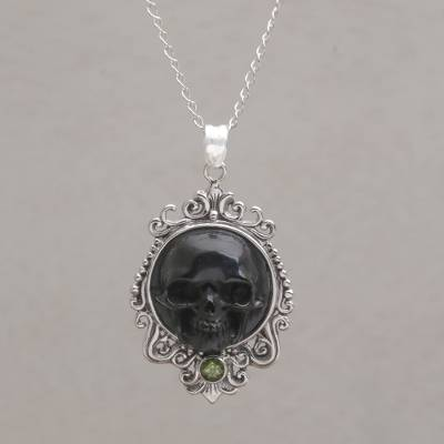 Peridot pendant necklace, Skull Stare in Black