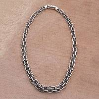 Sterling silver chain necklace, 'Glistening Power' - Handcrafted Sterling Silver Chain Necklace from Bali