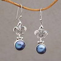 Cultured pearl dangle earrings, 'Fleur-De-Lis Glow' - Blue Cultured Pearl Fleur-De-Lis Dangle Earrings from Bali