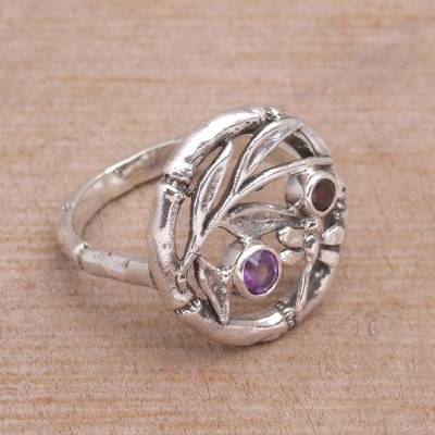 Amethyst and garnet cocktail ring, 'Dragonfly Portal' - Hand Made Sterling Silver Garnet and Amethyst Ring from Bali