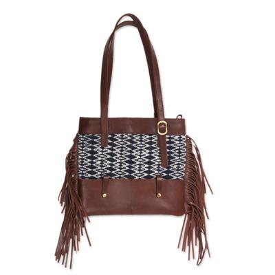 Cotton Ikat and Leather Shoulder Bag with Fringe