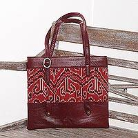 Leather and cotton ikat shoulder bag, 'Jepara Tradition' - Wine and Red Ikat Print Shoulder Bag from Java