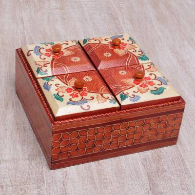 Wood decorative box, 'Javanese Memory' - Floral Batik Wood Decorative Box from Indonesia