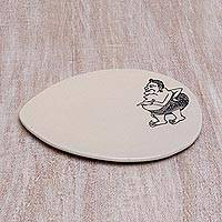 Ceramic serving plate, 'Tualen Snacks' - Ceramic Serving Plate with Cultural Designs from India