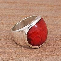 Sterling silver dome ring, 'Red Cyclops' - Unique Textured Look Cocktail Ring in Sterling Silver