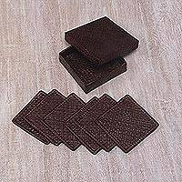 Pandan leaf coasters, 'Weaving Squared in Espresso' - Six Handwoven Pandan Leaf Coasters in Espresso from Bali