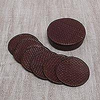 Pandan leaf coasters, 'Weaving Passion in Burgundy' (set of 6) - Six Handwoven Burgundy Pandan Leaf Coasters from Bali