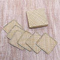 Pandan leaf coasters, 'Weaving Squared' (set of 6) - Six Handwoven Square Pandan Leaf Coasters from Bali