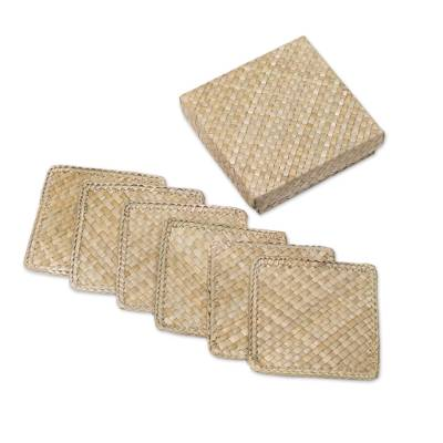 Six Handwoven Square Pandan Leaf Coasters from Bali
