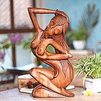 Wood sculpture, 'Summer Shower' - Hand Carved Suar Wood Sculpture of Artistic Nude