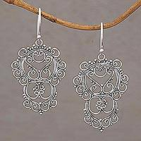Sterling silver dangle earrings, 'Gianyar Lace' - Lace-Like Sterling Silver Dangle Earrings from Bali