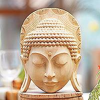 Wood mask, 'Borobudur Buddha' - Hand Crafted Crocodile Wood Mask of Buddha
