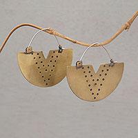 Brass hoop earrings,