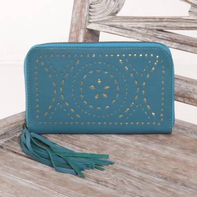 Leather wallet clutch, 'Borobudur Stars in Teal' - Teal and Gold Wallet Clutch in Leather with Tassel