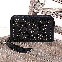 Leather wallet clutch, 'Borobudur Stars in Black' - Black and Gold Leather Wallet Clutch from Bali Artisan