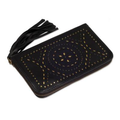 Black and Gold Leather Wallet Clutch from Bali Artisan