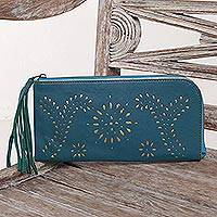 Leather wallet clutch, 'Prambanan Fireworks in Teal' - Cutout Design Leather Wallet Clutch in Cool Teal