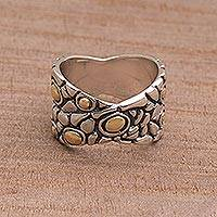 Gold accented sterling silver band ring, 'Golden Cobblestones' - Balinese Sterling Silver and Gold Plated Band Ring