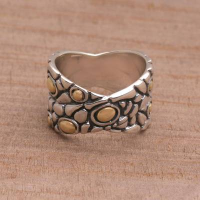 Balinese Sterling Silver and Gold Plated Band Ring