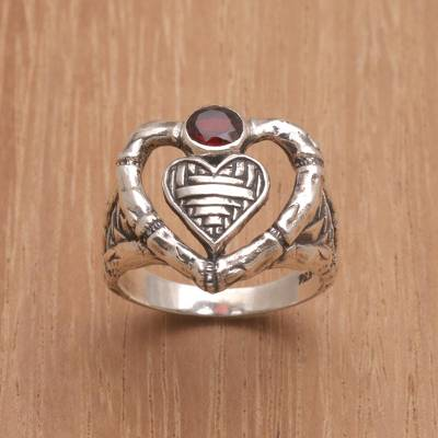 earrings at walmart - Garnet Ring with Textured Sterling Silver Heart Motifs