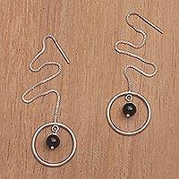 Onyx threader earrings, 'Soulful Rings' - Onyx and Sterling Silver Threader Earrings from Bali