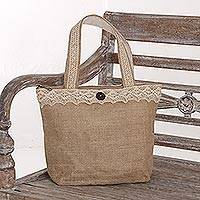 Jute tote bag, 'Prambanan Grove' - Cotton Lined Natural Jute Tote Shoulder Bag