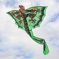 Nylon kite, 'Verdant Dragon' - Hand-Painted Green Dragon Nylon Kite from Bali