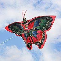 Nylon kite, 'Rainbow Monarch' - Hand-Painted Colorful Butterfly Kite from Bali