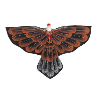 Hand-Painted Hawk Kite in Brown from Bali