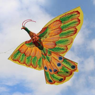Nylon kite, 'Sukawati Peacock' - Hand-Painted Nylon Peacock Kite from Bali