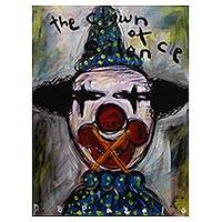 'The Clown of Silence' - Expressionist Acrylic Painting of Silenced Clown