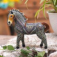 Polymer clay sculpture, 'Vibrant Horse' (5.5 inch) - Handcrafted Polymer Clay Horse Sculpture (5.5 Inch)