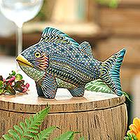 Polymer clay sculpture, 'Bali Fish' (5.75 inch) - Handcrafted Polymer Clay Fish Sculpture (5.75 Inch)