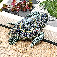 Polymer clay sculpture, 'Vibrant Sea Turtle' (4.5 inch) - Polymer Clay Sea Turtle Sculpture (4.5 Inch) from Bali