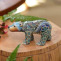 Polymer clay sculpture, 'Baby Polar Bear' - Colorful Polymer Clay Baby Polar Bear Sculpture from Bali