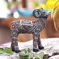 Polymer clay sculpture, 'Vibrant Ram' (4.7 inch) - Colorful Polymer Clay Ram Sculpture (4.7 Inch) from Bali