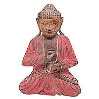 Wood statuette, 'Tranquility Buddha' - Artisan Hand Carved Wood Buddha Statue in Red and Brown