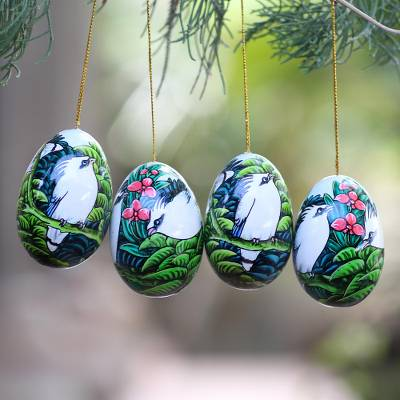 Wood ornaments, 'Jalak Forest' (set of 4) - Hand-Painted Ornaments of Jalak Birds from Bali (Set of 4)