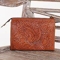 Leather clutch, 'Sawung Galing Heritage' - Hand Tooled Brown Leather Clutch with Multiple Compartments
