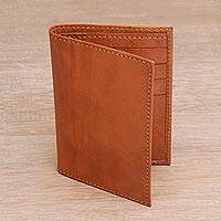 Leather wallet, 'Javanese Simplicity' - Handmade Unisex Orange Stitched Leather Wallet from Bali