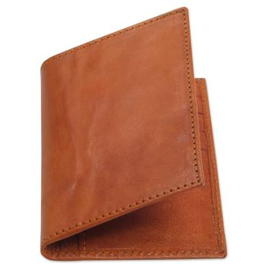 Handmade Unisex Orange Stitched Leather Wallet from Bali
