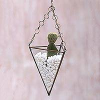 Glass and brass hanging terrarium, 'Eden Pyramid' (14.5 inch) - Glass and Brass 14.5 Inch Hanging Terrarium from Java