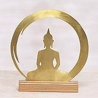 Brass sculpture, 'Sitting Buddha Dome' - Brass and Teak Wood Silhouette Sculpture of Buddha