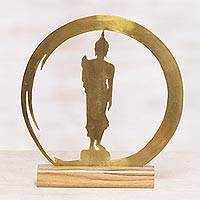Brass sculpture, 'Standing Buddha Dome' - Handmade Brass and Wood Sculpture of Buddha
