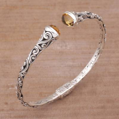 Citrine cuff bracelet, 'Eden Vines' - Citrine and Sterling Silver Cuff Bracelet from Bali