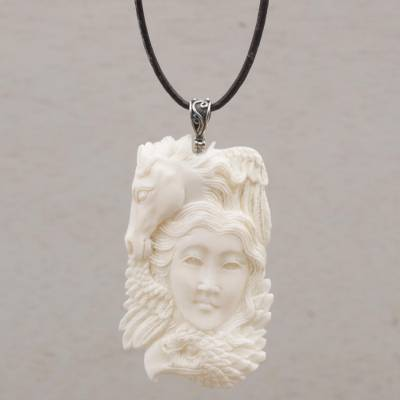 Bone pendant necklace, 'Wild Lady' - Handcrafted Adjustable Bone Pendant Necklace from Bali