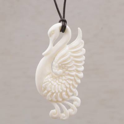 Bone pendant necklace, 'Noble Swan' - Handcrafted Bone Swan Pendant Necklace from Bali